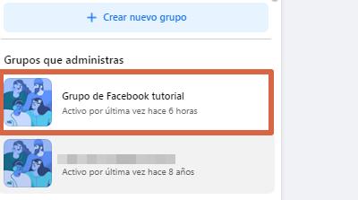 Eliminar grupo nueva versión de Facebook paso 1