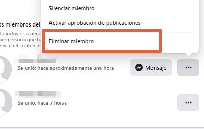 Eliminar grupo nueva versión de Facebook paso 4