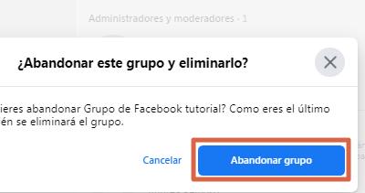 Eliminar grupo nueva versión de Facebook paso 7