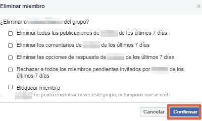 Eliminar un grupo de Facebook versión clásica paso 5
