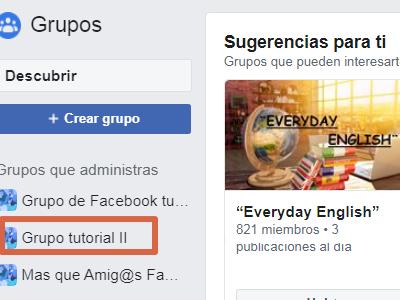 Eliminar un grupo de Facebook versión clásica paso 1