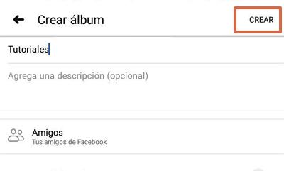 Etiquetar álbum de fotos Facebook app paso 11