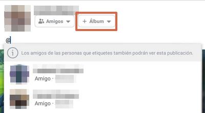 Etiquetar álbum de fotos Facebook app paso 9