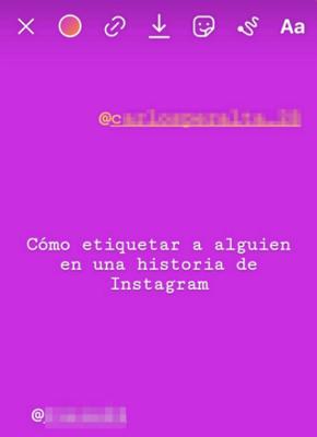 Etiquetar a una cuenta en historias de Instagram