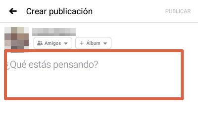 Etiquetar amigo o página en publicación,comentarios o respuestas Facebook app paso 1