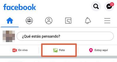 Etiquetar foto en Facebook app paso 1