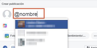 Etiquetar persona o página en publicaciones, comentarios o respuestas en Facebook paso 2