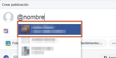 Etiquetar persona o página en publicaciones, comentarios o respuestas en Facebook paso 3