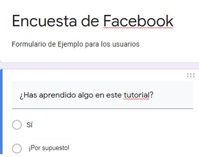 Hacer una encuesta con Formularios de Google para compartir en Facebook paso 3