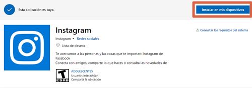 Instalar Instagram en Windows 10 paso 4