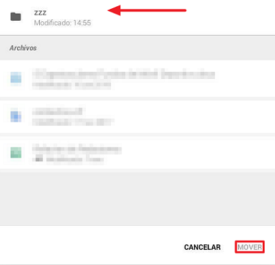 Mover archivos a una carpeta desde el móvil paso 3