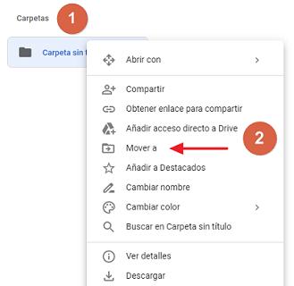 Mover archivos a una carpeta desde el navegador paso 1, 2