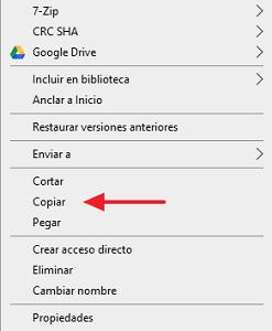 Mover archivos a una carpeta desde la PC paso 1 , 2
