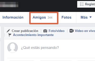 Saber quién te sigue en Facebook paso 2