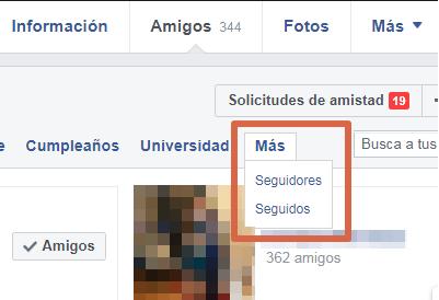 Saber quién te sigue en Facebook paso 3
