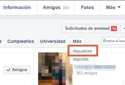 Saber quién te sigue en Facebook paso 4