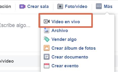 Transmitir en vivo en un grupo de Facebook paso 1
