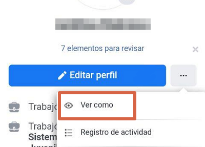 Ver tu perfil como si fueses otra persona en Facebook desde el navegador en tu móvil paso 3