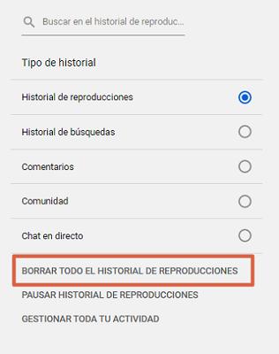 Borrar historial de reproducciones en YouTube