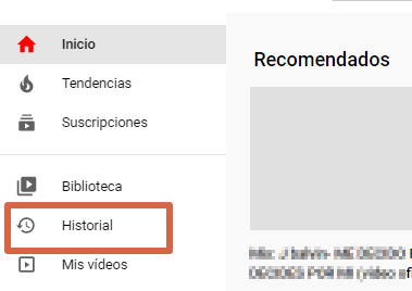 Cómo borrar el historial de visualizaciones o búsqueda de YouTube desde el ordenador paso 2