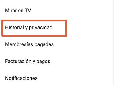 Cómo borrar el historial de visualizaciones o búsquedas de YouTube desde el móvil paso 3