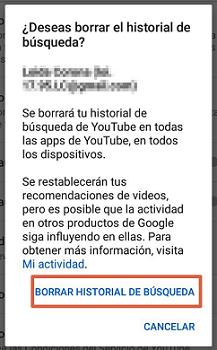 Cómo borrar el historial de visualizaciones o búsquedas de YouTube desde el móvil paso 5