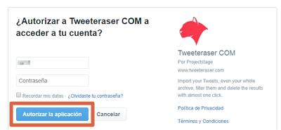 Cómo borrar tweets antiguos con TweetEraser paso 2