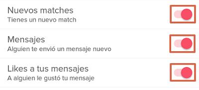 Cómo configurar las notificaciones de mensajes en Tinder paso 5