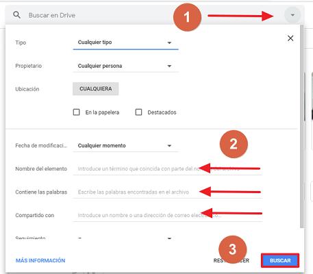 Cómo recuperar una carpeta borrada en Google Drive utilizando el buscador paso 1, 2 y 3