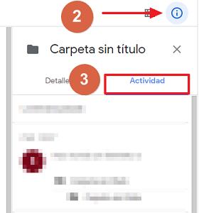 Cómo recuperar una carpeta borrada en Google Drive ver mi actividad paso 2, 3
