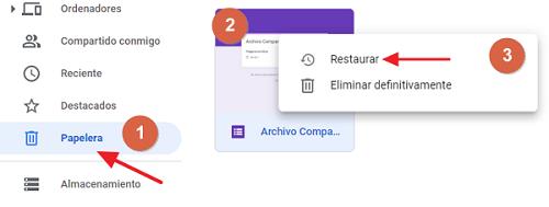 Cómo recuperar una carpeta borrada restaura desde la papelera en Google Drive paso 1, 2 y 3