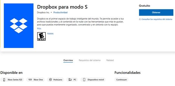 Cómo descargar Dropbox a consolas Xbox desde la Microsoft Store