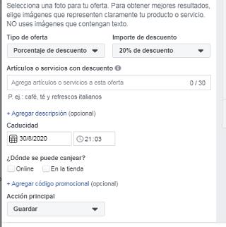 Crear oferta en Facebook paso 3