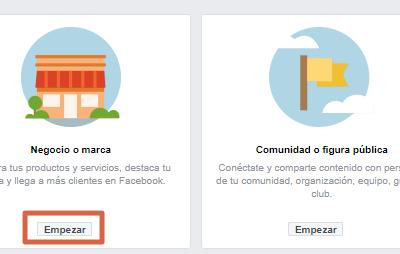 Crear página de Facebook para ventas paso 1