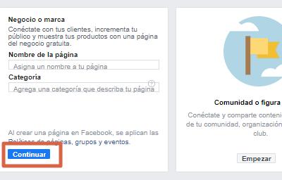 Crear página de Facebook para ventas paso 2