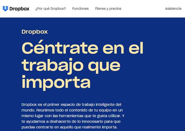 Dropbox página de inicio