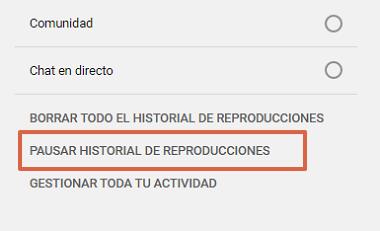 Pausar el historial de búsquedas y reproducciones en YouTube