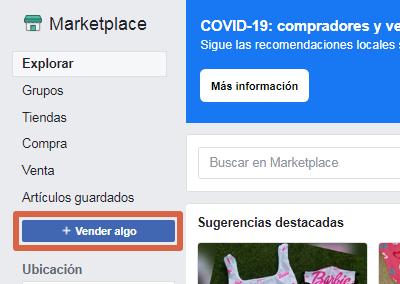 Vender en Marketplace Facebook paso 1