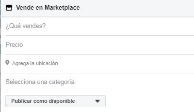 Vender en Marketplace Facebook paso 2