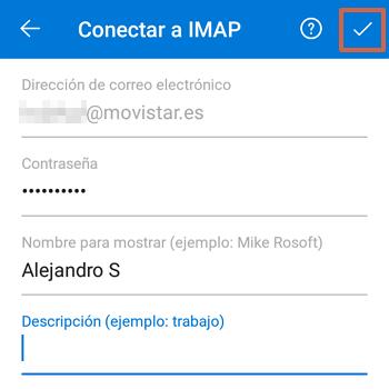 Cómo acceder al Correo de Movistar desde la aplicación de Outlook paso 7