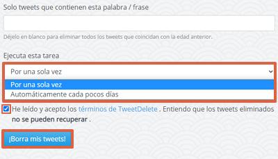 Cómo borrar todos los tweets de una cuenta Twitter con Tweet Delete paso 4