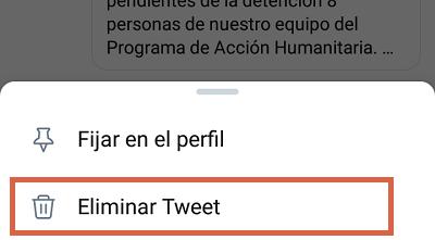 Cómo borrar tweets individualmente en Twitter desde el teléfono paso 4