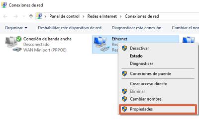 Cómo cambiar el servidor DNS desde las configuraciones de conexión a red en Windows paso 2