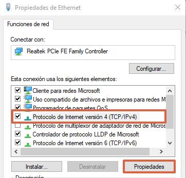 Cómo cambiar el servidor DNS desde las configuraciones de conexión a red en Windows paso 3