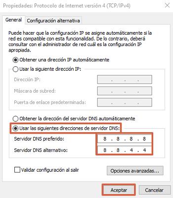 Cómo cambiar el servidor DNS desde las configuraciones de conexión a red en Windows paso 4