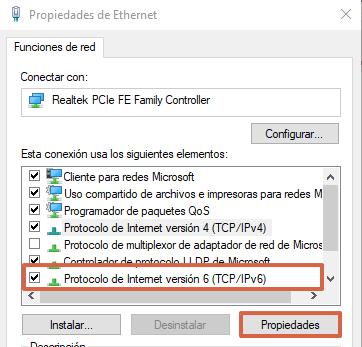 Cómo cambiar el servidor DNS desde las configuraciones de conexión a red en Windows paso 5