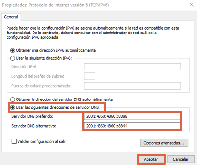 Cómo cambiar el servidor DNS desde las configuraciones de conexión a red en Windows paso 6