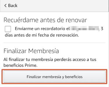 Cómo cancelar la suscripción de Amazon Prime desde la app paso 7