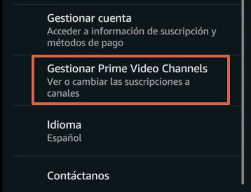 Cómo cancelar los canales de Amazon Prime Video desde la app paso 3