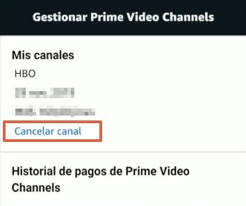 Cómo cancelar los canales de Amazon Prime Video desde la app paso 5